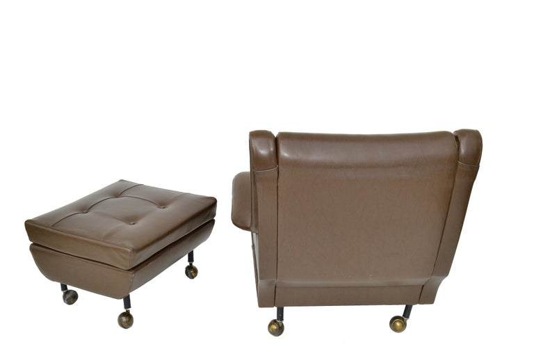 Marco Zanuso Brown Leather Chair with Ottoman Model Regent for Arflex Italy 1960 For Sale 2
