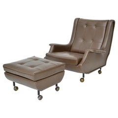 Marco Zanuso Brown Leather Chair with Ottoman Model Regent for Arflex Italy 1960