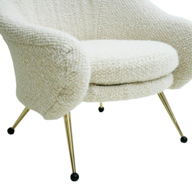 Brass Marco Zanuso by Arflex Mid-Century Modern Mod. Martingala White Italian Armchair For Sale
