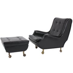 Marco Zanuso Black Leather Chair with Ottoman Model Regent for Arflex Italy