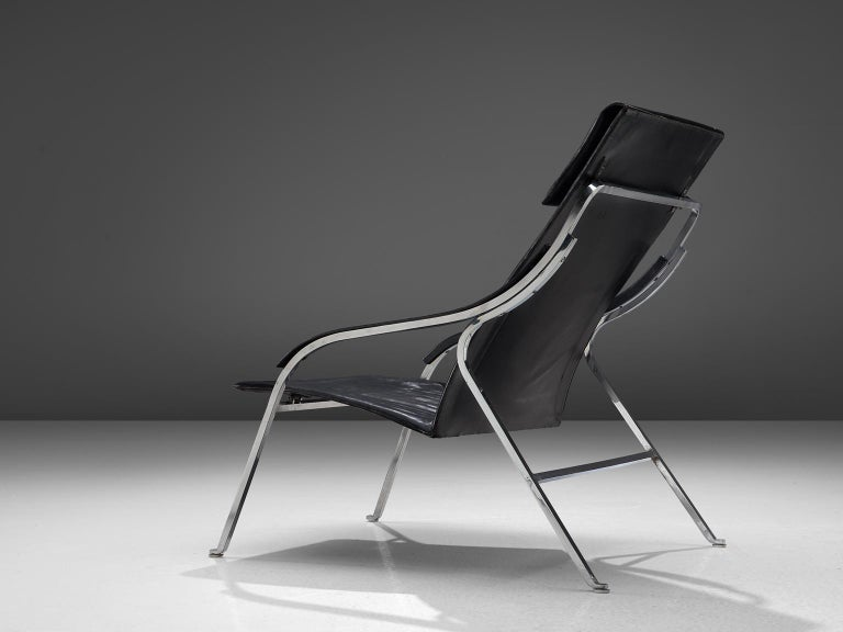 Marco Zanuso for Arflex, fourline lounge chair, black leather and steel, Italy, 1964.  This lounge chair by Zanuso remains among the best examples of armchairs designed by the architect. It is not only the ingenious slender design that distinguishes