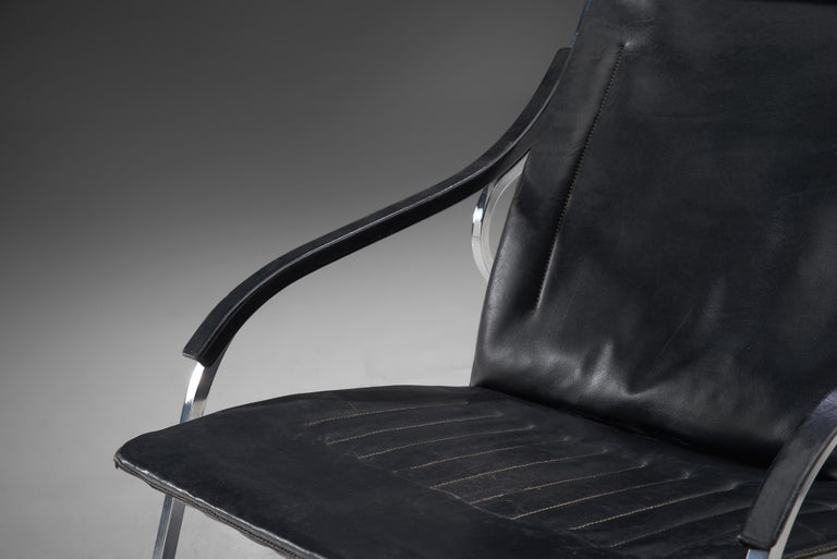 Mid-Century Modern Marco Zanuso for Arflex 'Fourline' Chair in Leather For Sale