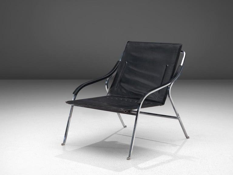 Italian Marco Zanuso for Arflex 'Fourline' Chair in Leather For Sale