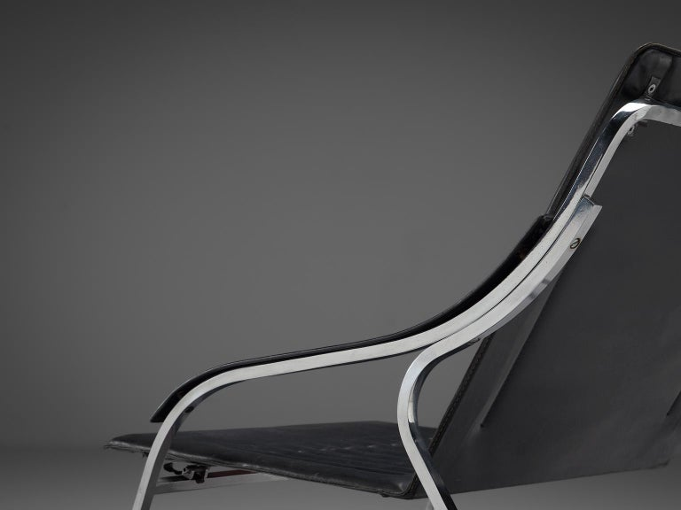 Marco Zanuso for Arflex 'Fourline' Chair in Leather In Good Condition For Sale In Waalwijk, NL