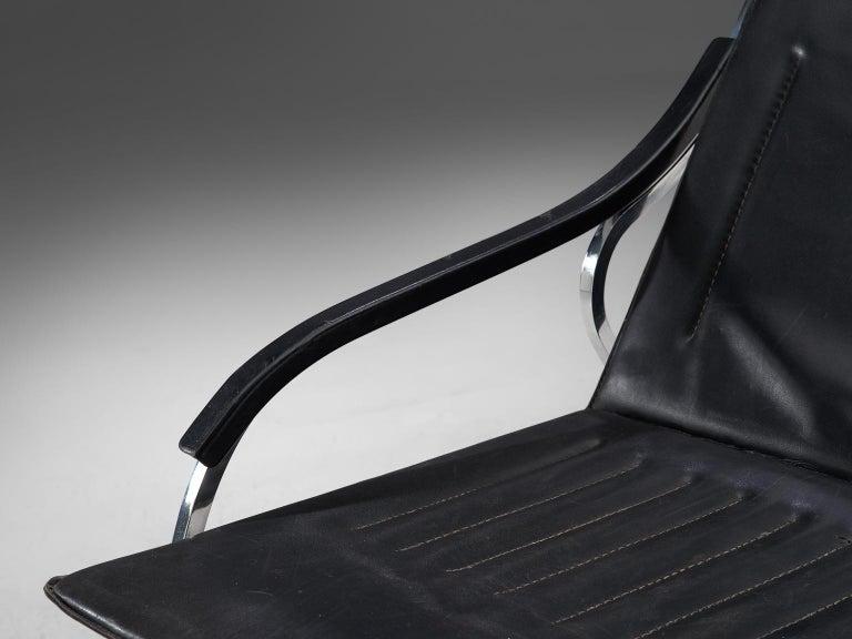 Steel Marco Zanuso for Arflex 'Fourline' Chair in Leather For Sale