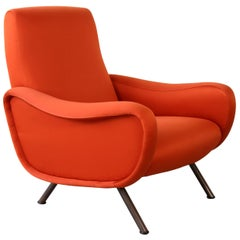 "Marco Zanuso for Arflex Italian Orange Early ""Lady"" Armchair, 1951"