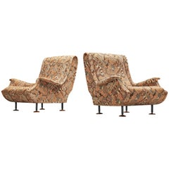 Marco Zanuso for Arflex Lounge Chairs Model 'Regent' in Patterned Fabric Upholst