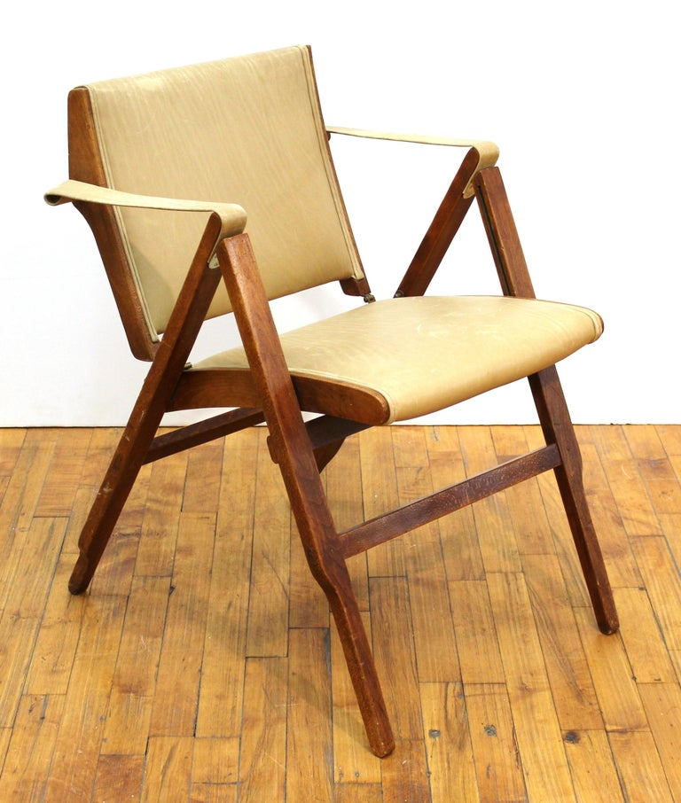 Marco Zanuso (1916-2001) for Artflex Italian Mid-Century Modern 'Bridge Chair' folding armchair, designed in 1951. Referenced in