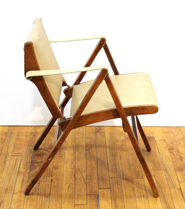 Marco Zanuso for Artflex Italian Mid-Century Modern Folding 'Bridge Chair' In Good Condition For Sale In New York, NY