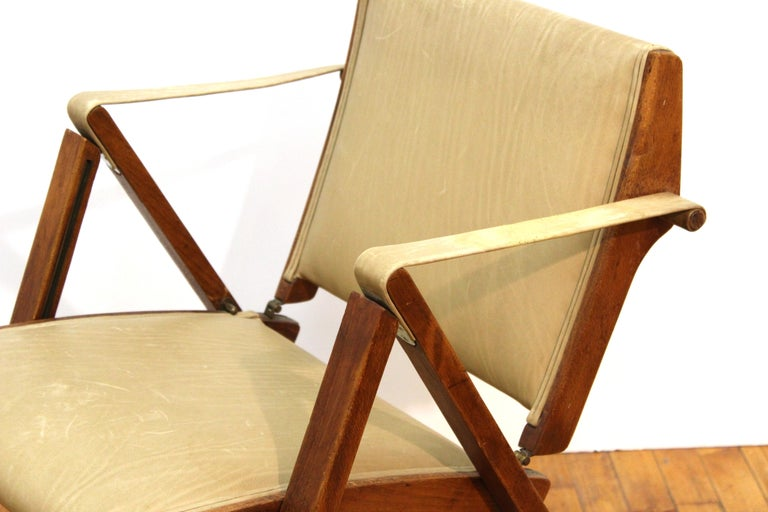Metal Marco Zanuso for Artflex Italian Mid-Century Modern Folding 'Bridge Chair' For Sale