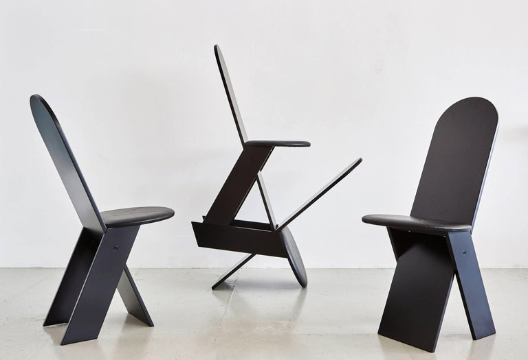 Italian Marco Zanuso for Poggi Angular Chairs For Sale