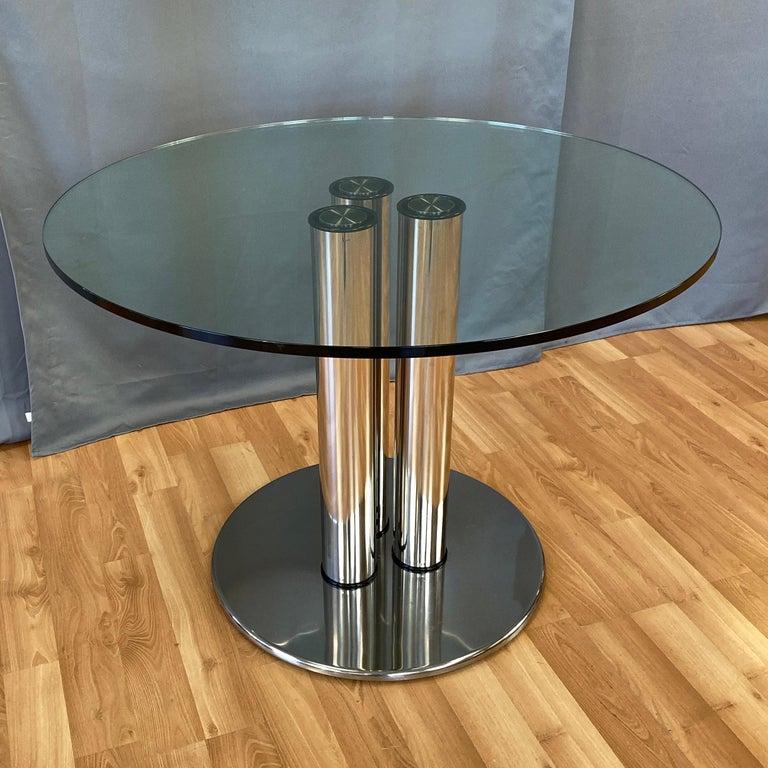 Italian Marco Zanuso for Zanotta 2532 Marcuso Steel and Glass Dining Table, 1970 For Sale