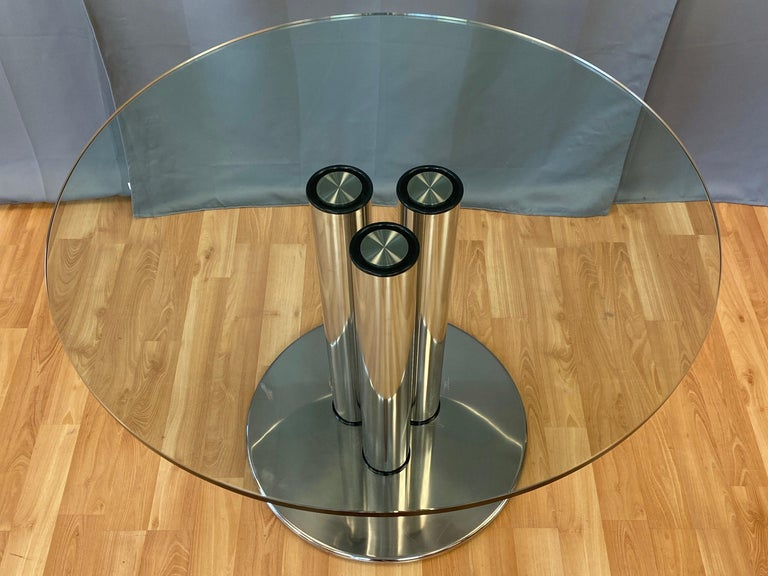Marco Zanuso for Zanotta 2532 Marcuso Steel and Glass Dining Table, 1970 In Good Condition For Sale In San Francisco, CA