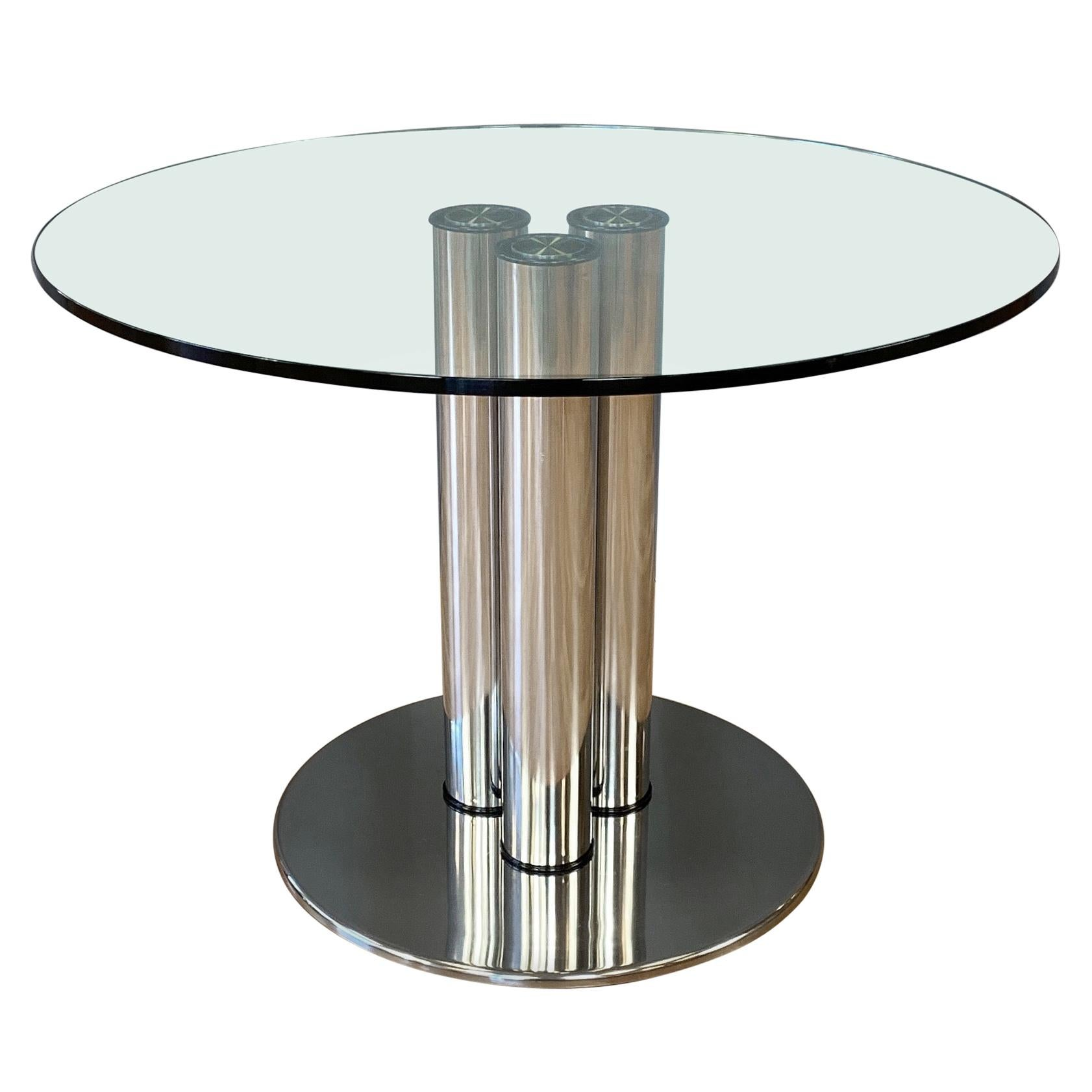 Marco Zanuso for Zanotta 2532 Marcuso Steel and Glass Dining Table, 1970