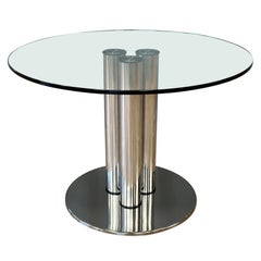 Marco Zanuso for Zanotta 2532 Marcuso Steel and Glass Dining Table, 1970