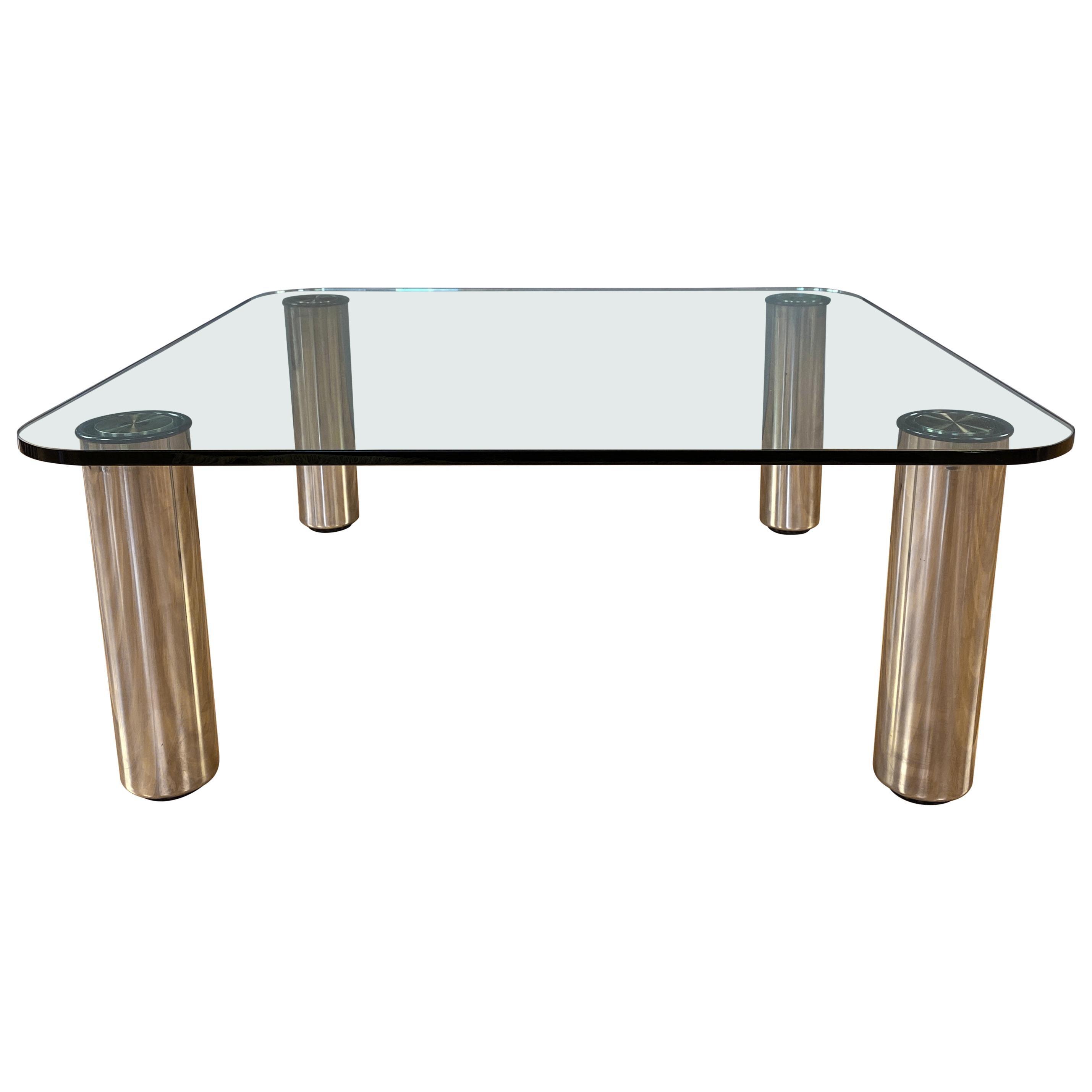 Marco Zanuso for Zanotta Marcuso Steel and Glass Coffee Table, 1970