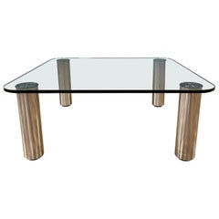 Marco Zanuso for Zanotta Marcuso Steel and Glass Coffee Table, 1970