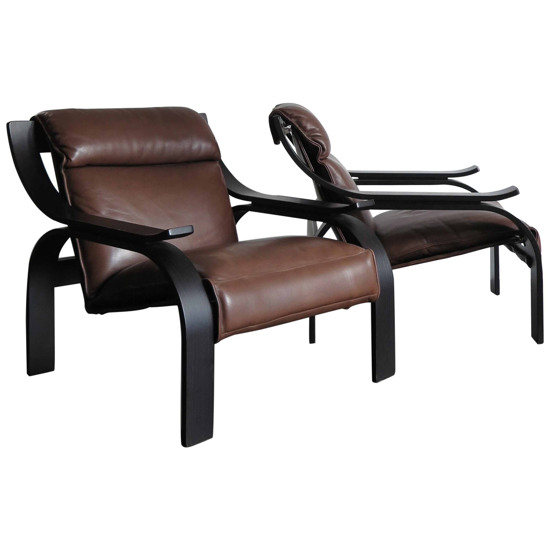 "Marco Zanuso Italian Leather and Wood ""Woodline"" Armchairs for Arflex, 1960s"