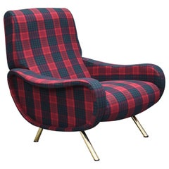 Marco Zanuso 'Lady' Chair by Arflex in New Fabric and Brass, Italy, 1951