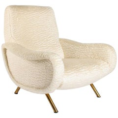 "Marco Zanuso ""Lady Chair"" by Artiflex, Newly Upholstered in Plush Ivory Mohair"