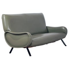 Marco Zanuso Lady Sofa, for Arflex, Green Sky, Italy, 1951, Two-Seat, Italy