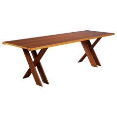 Marco Zanuso Large Architectural X-Leg Dining Table in Walnut, Italy 1974