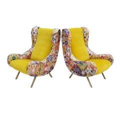 Marco Zanuso Mid-Century Modern Pair of Velvet Senior Armchairs, Italy 1958