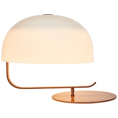 Marco Zanuso Model 275 Table Lamp in White and Brown for Oluce