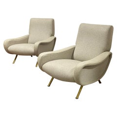 Marco Zanuso Pair of Lady Chairs Covered in Kvadrat Wool Cloth