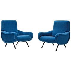 Marco Zanuso Pair of Lounge Chairs Reupholstered in Blue Mohair