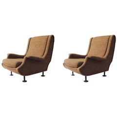"Marco Zanuso Pair of ""Regent"" Armchairs for Arflex, Italy, 1960s"