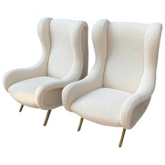 "Marco Zanuso Pair of ""Senior"" Armchairs in Cream White Bouclé, Italy, 1950s"