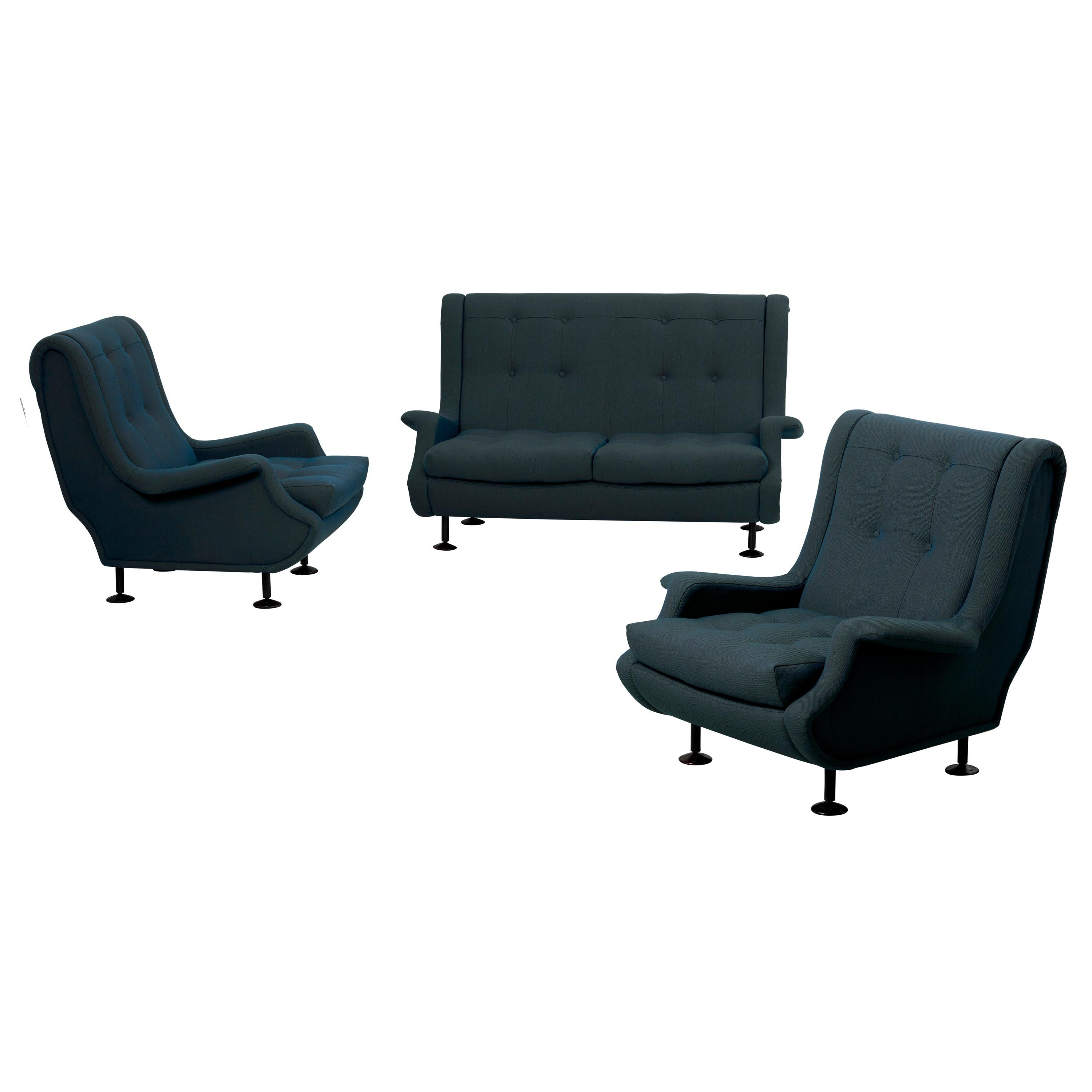 Marco Zanuso Regent Set of Settee and Lounge Chairs for Arflex, Italy, 1960s