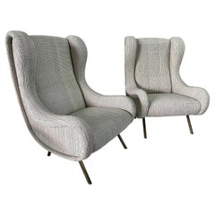 Marco Zanuso Senior Armchairs for Arflex, Pair 'Label'