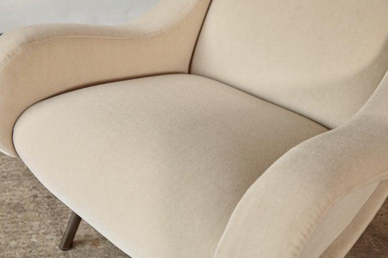 Marco Zanuso Senior Chairs, Mohair Velvet, Arflex, Italy, 1960s 5