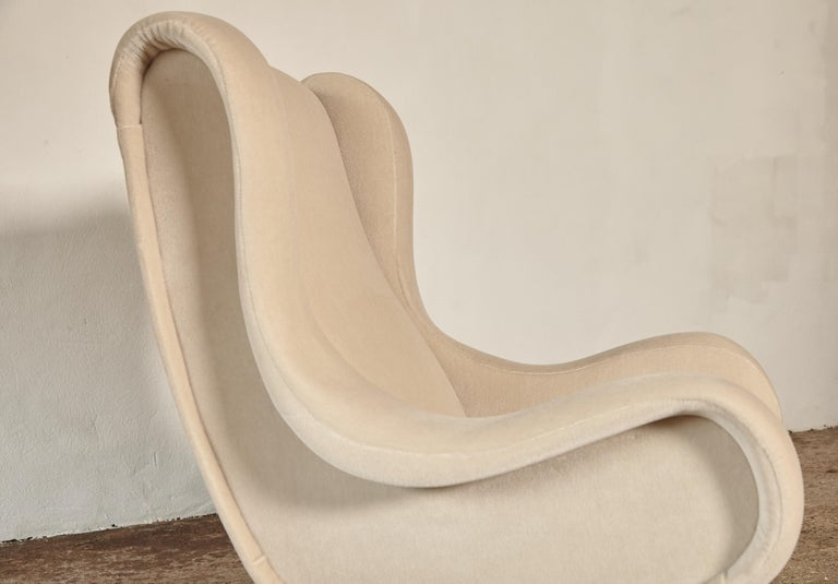 Marco Zanuso Senior Chairs, Mohair Velvet, Arflex, Italy, 1960s 6