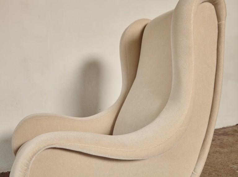 Marco Zanuso Senior Chairs, Mohair Velvet, Arflex, Italy, 1960s 7