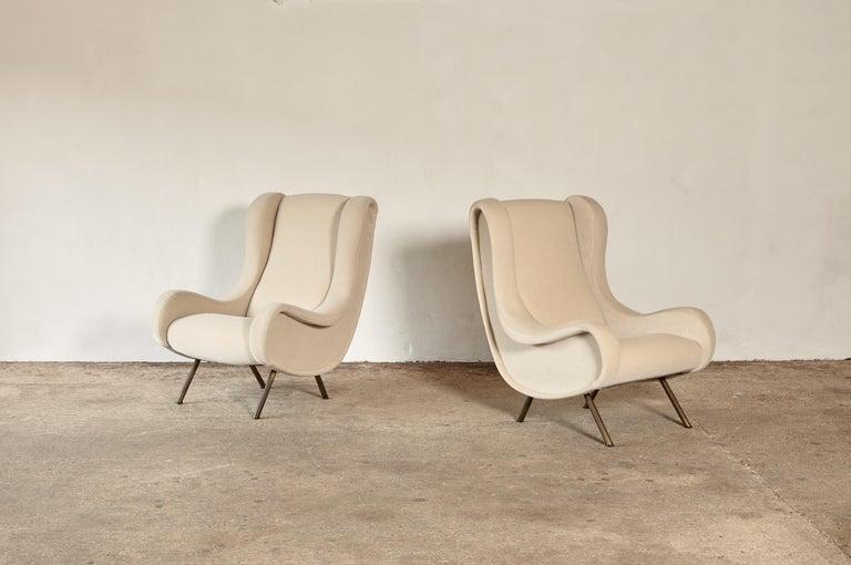 Mid-Century Modern Marco Zanuso Senior Chairs, Mohair Velvet, Arflex, Italy, 1960s