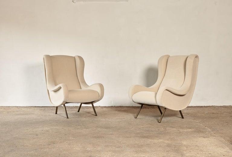 Italian Marco Zanuso Senior Chairs, Mohair Velvet, Arflex, Italy, 1960s