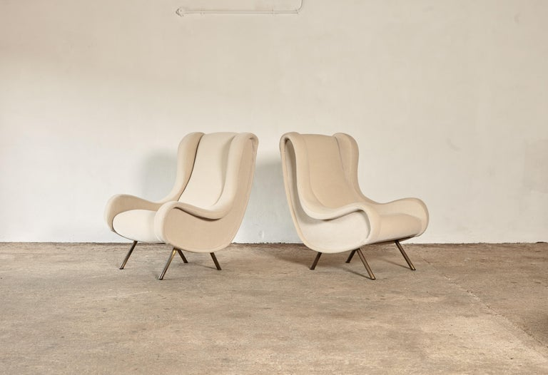Marco Zanuso Senior Chairs, Mohair Velvet, Arflex, Italy, 1960s In Good Condition In London, GB
