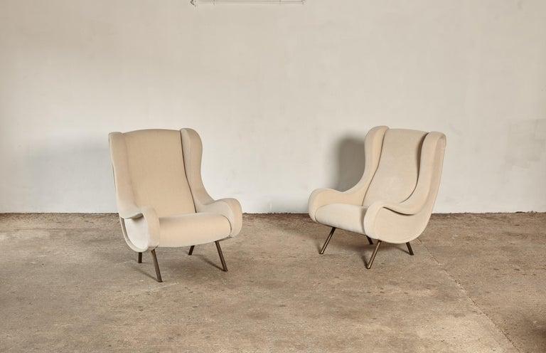 20th Century Marco Zanuso Senior Chairs, Mohair Velvet, Arflex, Italy, 1960s