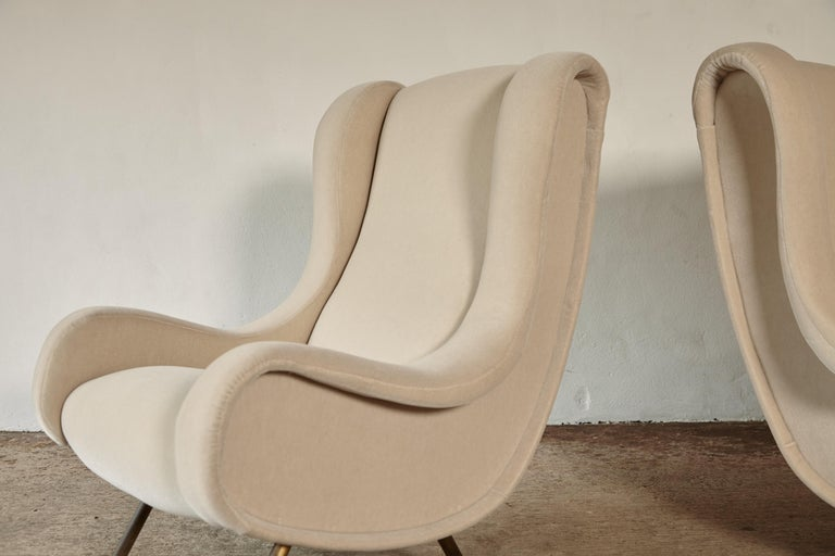 Brass Marco Zanuso Senior Chairs, Mohair Velvet, Arflex, Italy, 1960s