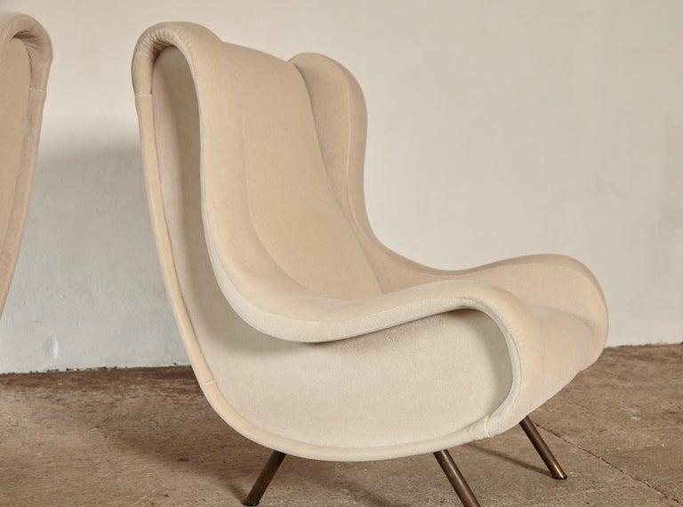 Marco Zanuso Senior Chairs, Mohair Velvet, Arflex, Italy, 1960s 1