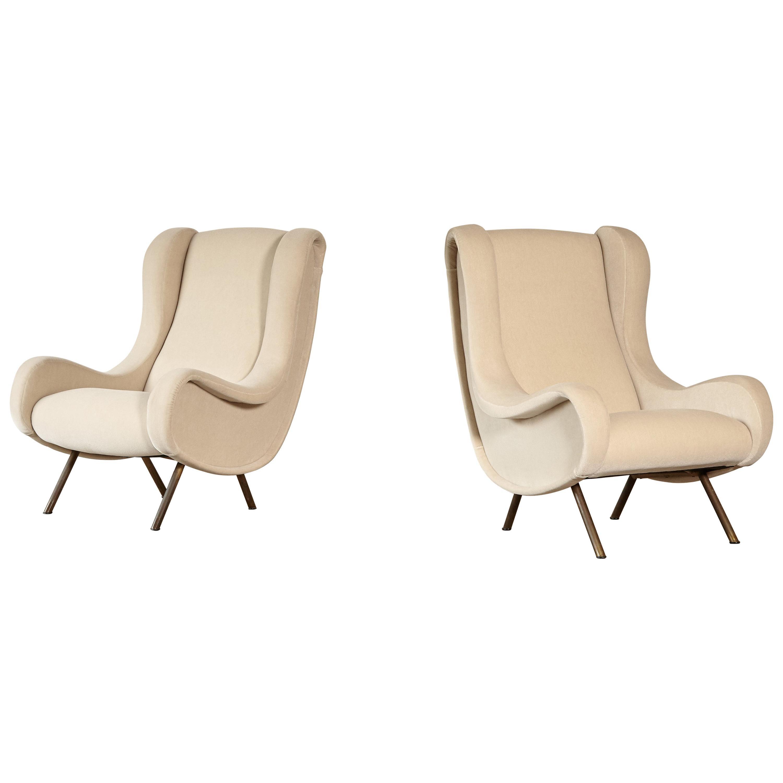 Marco Zanuso Senior Chairs, Mohair Velvet, Arflex, Italy, 1960s