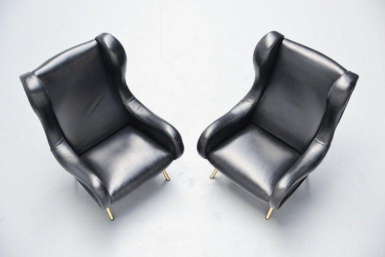 Mid-Century Modern Marco Zanuso Senior Lounge Chairs Arflex, Italy, 1951 For Sale