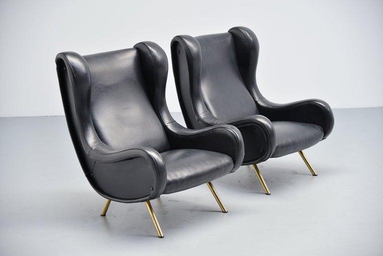 Italian Marco Zanuso Senior Lounge Chairs Arflex, Italy, 1951 For Sale