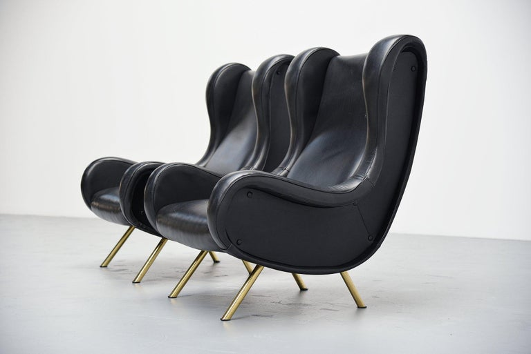 Mid-20th Century Marco Zanuso Senior Lounge Chairs Arflex, Italy, 1951 For Sale