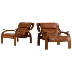 Marco Zanuso Set of Two Woodline Armchairs in Leather for Artflex, 1960