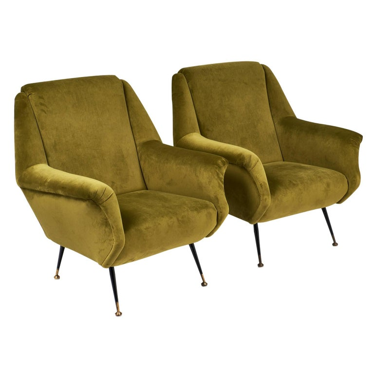 Marco Zanuso Style Green Armchairs
