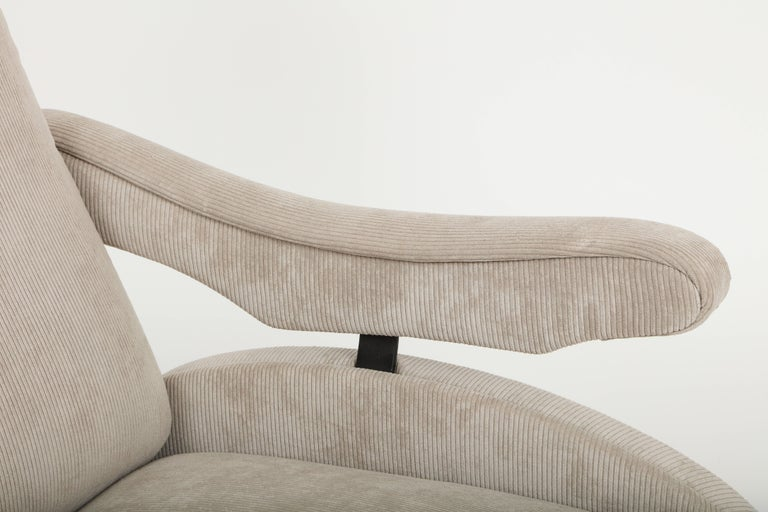Mid-Century Modern Marco Zanuso Style Grey Velvet Corduroy Lounge Chair Midcentury, Italian, 1960 For Sale